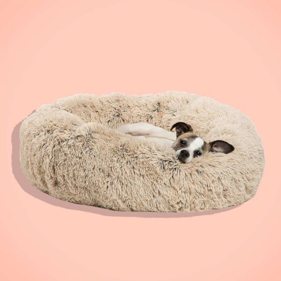 Pet Beds Cozy Fur Donut Cuddler, Self-Warming and Cozy for Improved Sleep, Washable, Multiple Sizes