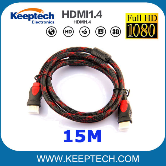 Wholesale HDMI Cable 15m Male to Male 1.4V Support 3D 1080P Nylon Braided