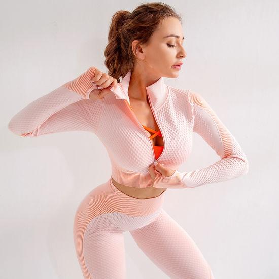 Winter Anti-Static Two Piece Long Sleeve Full Zip Sportswear Tracksuit for Women
