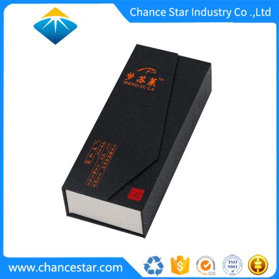 Custom Magnetic Closure Black Cardboard Jewelry Packaging Box