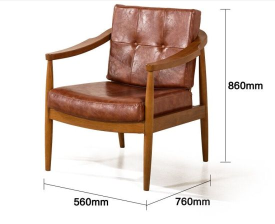 Exceptionnel Single Leather Armchair, Sofa Chair Set Piece, Industrial Style Solid Wood  Armchair