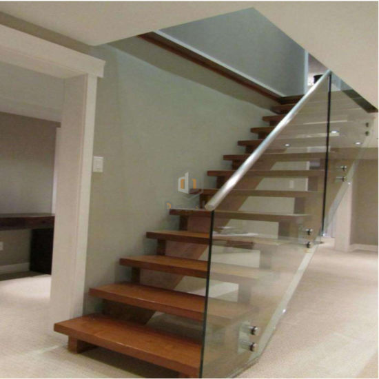 Double Beam Wood Staircase / Step Ladder With Glass Railing