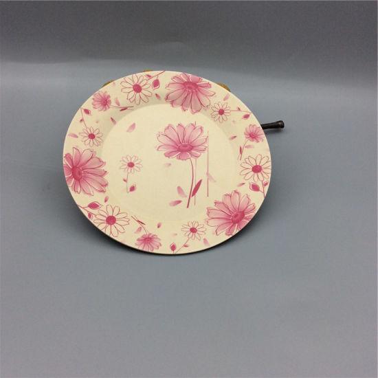 Reusable Printing Artistic Dinner Plates Round Decal Bamboo Fiber Plate & China Reusable Printing Artistic Dinner Plates Round Decal Bamboo ...