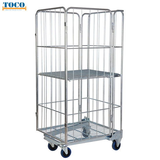 Nestable Four Side Hand Trolley Logistic Container with Shelf for Workshop