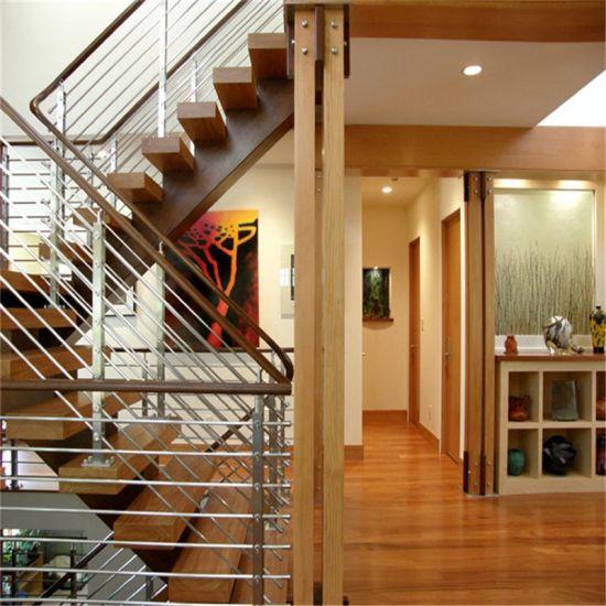 Modern Outside Balcony Handrail Stainless Steel Rod Railing