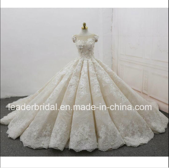 China Cap Sleeves Bridal Gowns Lace 3D Flowers Puffy 2018 Wedding ...