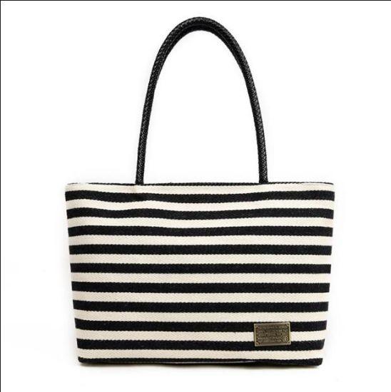 Horizontal Shopping China Canvas Tote Handbags Bag Stripes XTOwPkZiu