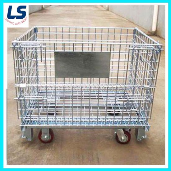 Wire Mesh Container with Caster/Stocked Container