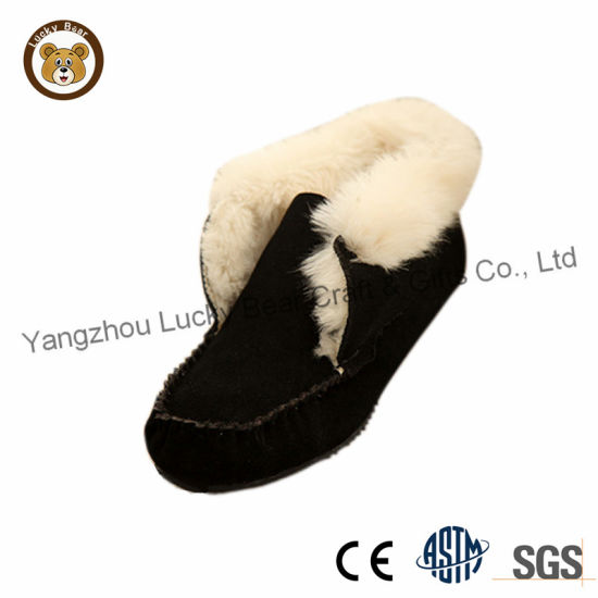 Rubber Sole Real Suede Warm Faux Fur Moccasin Casual Shoes for Women/Men pictures & photos