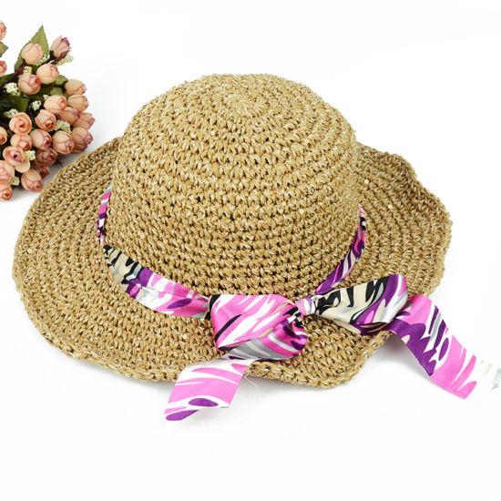 OEM China Fashion Women Sun Bow-Knot Foldable Straw Hat