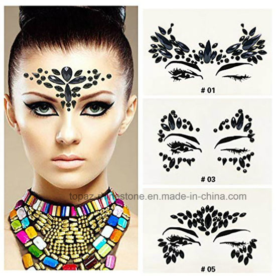 28479476b Glitter Adhesive Face Gems Rhinestone Jewel Festival Party Body Tattoo  Stickers Face and Eyes Decor (