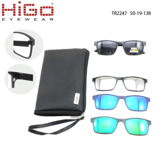 China Tr90 Glasses 1 Frame Polarized 4 Clip on Sunglasses - China ...