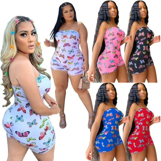 Custom Printing high Quality Cheap Casual Strapless Bodysuit Jumpsuit Sexy One Piece Jumpsuit for Women