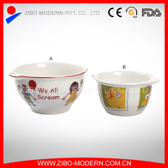 Wholesale Ceramic Soup Bowl with Ears in Imprint pictures & photos