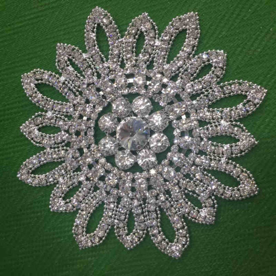Whole Sunflower Sew On Clear Crystal Rhinestone Lique Embellishment For Wedding Dress