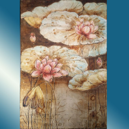Competitive Price Handwork Oil Painting Lotus Flower Picture (LH-156000) pictures & photos