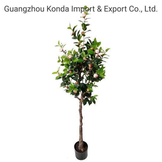 Modern Design Artificial Camellia in Pot for Home Garden Decoration