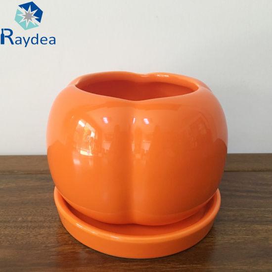 Pumpkin Shaped Ceramic Flower Pot in Orange Color