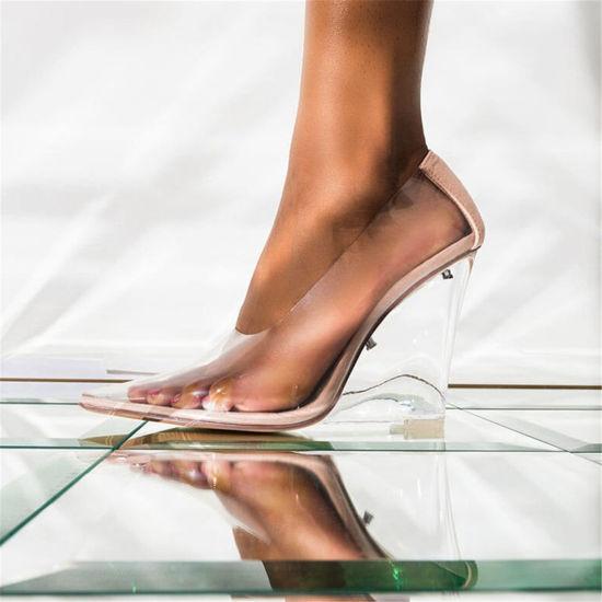 China Ladies Perspex Clear PVC Heels