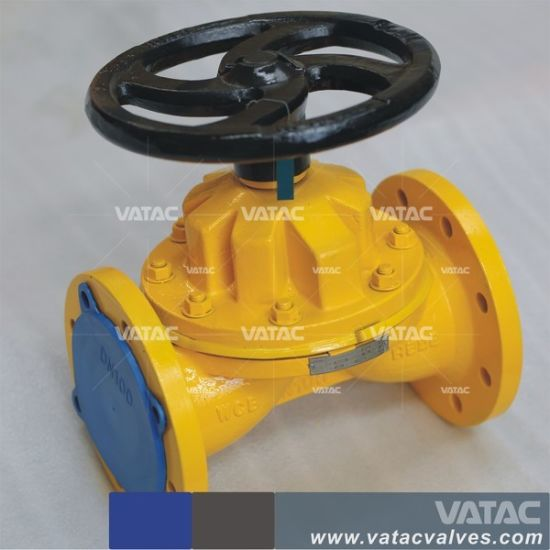 Straight Through Cast Iron Flanged FF Gg25 Handwheel Diaphragm Valve pictures & photos