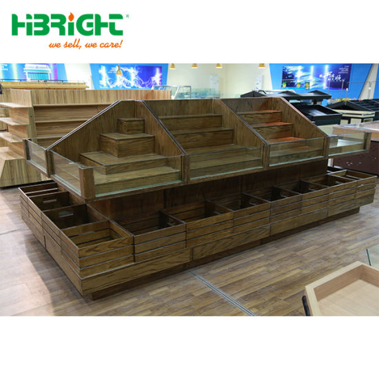 China Super Markets Fruit Veg Display Stand Wood Fruit Vegetable