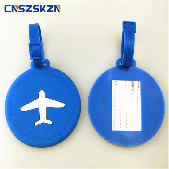 Round PVC Luggage Tags Suitcase Hang Tags Baggage Name Labels Travel Tour Information Card