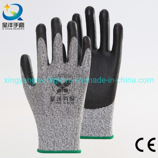 Level 5 Hppe Cut Resistant Resistance Hand PU Coated Safety Work Gloves with Ce