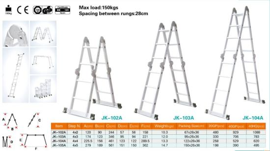 High Quality Aluminum Scaffolding Ladder with 2*6 Steps pictures & photos