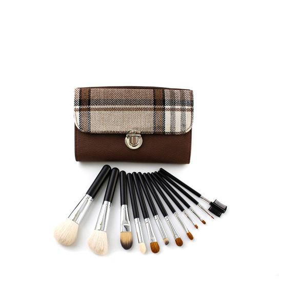 12 Pieces Professional Kabuki Makeup Brush Set Natural and Synthetic Hair with PU Leather Bag Esg10500 pictures & photos