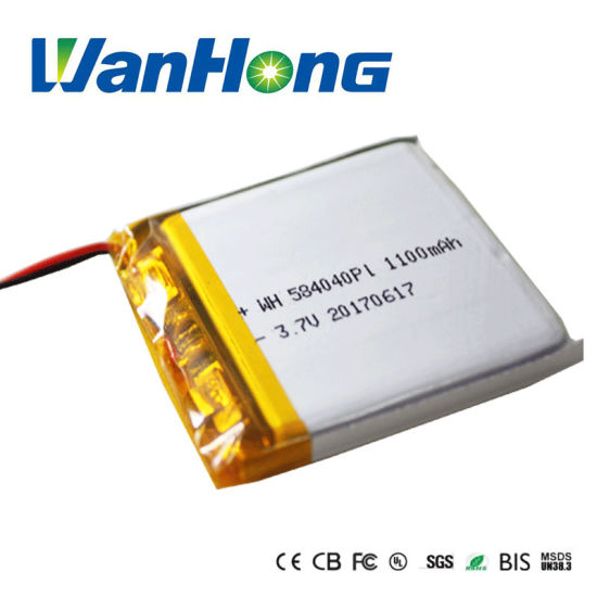 Rechargeable 584040pl Li-ion Battery 3.7V 1000mAh 1100mAh Li-Polymer Battery Pack for GPS Speaker