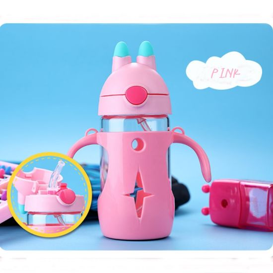 Wholesale Cute Baby Feeding Glass Bottle Learn Drinking Water Glass Cup Withstraw Handle