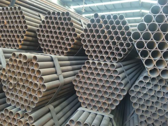 china construction structure black erw carbon steel pipe round