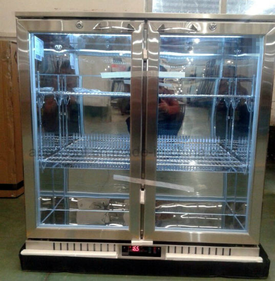 Double Swing Glass Door Back Bar Cooler with Ce Certificate Stainless Steel Beer Chiller Made in China pictures & photos