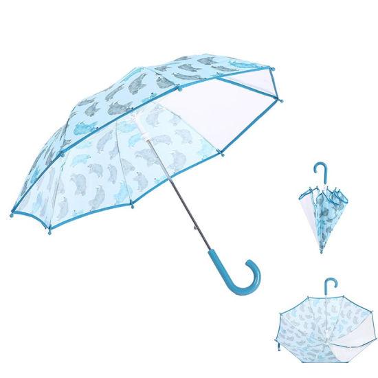 Transparent PVC Poe Kids Umbrella with Cartoon Pattern