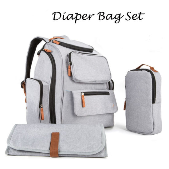 Baby Diaper Bag Set Mummy Backpack Stroller Straps Changing Pad pictures & photos
