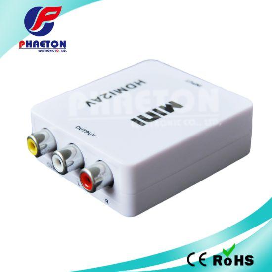 Portable White HDMI 2AV to AV RCA Converter 1080P