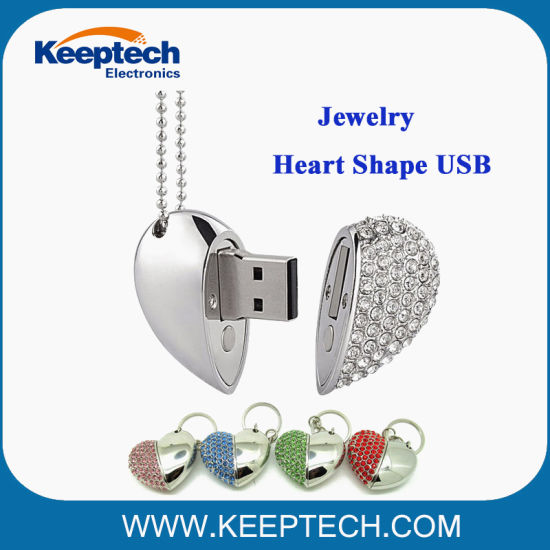 Deluxe Diamond Jewelry Heart Shape USB Flash Drive for Gift