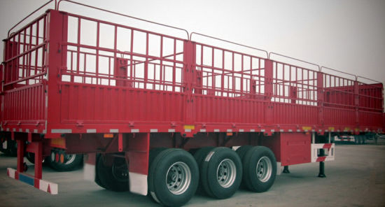 Hot Jushixin 3axle Stake Cargo Trailer with Side Wall pictures & photos