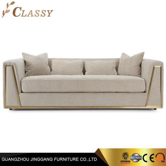 Home Furniture Golden Stainless Steel Frame with Loveseat Arm Sofa