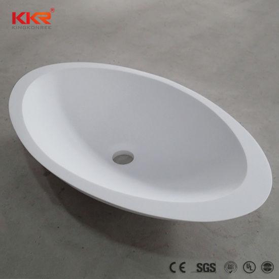 Kkr Factory Supply White Solid Surface Corian Counter Top Washbasin