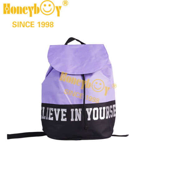 Purpls Color Drawstring Backpack with Reflective Logo Printing Cool Backpack for Girls
