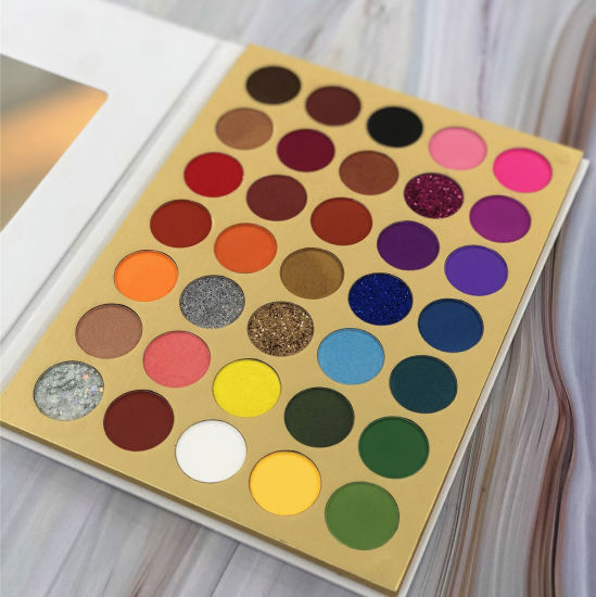 Private Label 35 Color Glitter Eyeshadow Palette with Cardboard Packaging