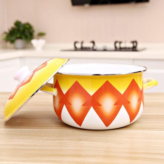 5PCS Enamel Casserole Cooking Pot Set with Decal