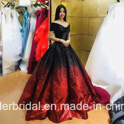 China Cap Sleeve Quinceanera Dress Red Purple Silver Gold Sequins