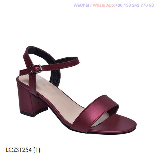 7cc6056806 China Womens Heel Sandals Block Toe Ladies Ankle Strap Party Shoes ...