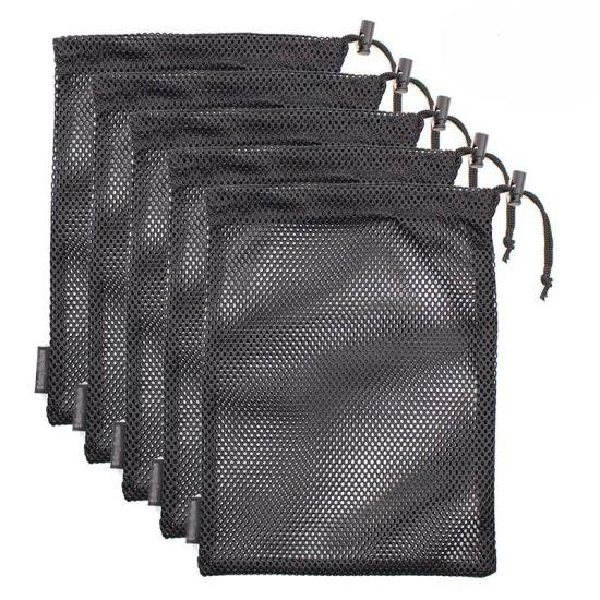 Water Resistant 210d Drawstring Ripstop Foldable Nylon Mesh Shopping Bag