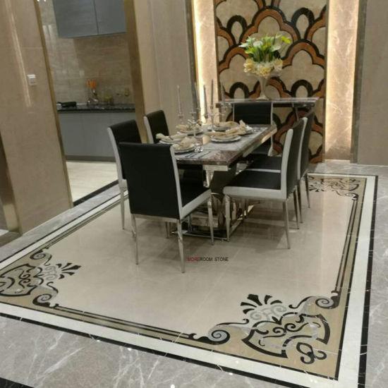 China Living Room Flooring Design Water Jet Marble Look Porcelain
