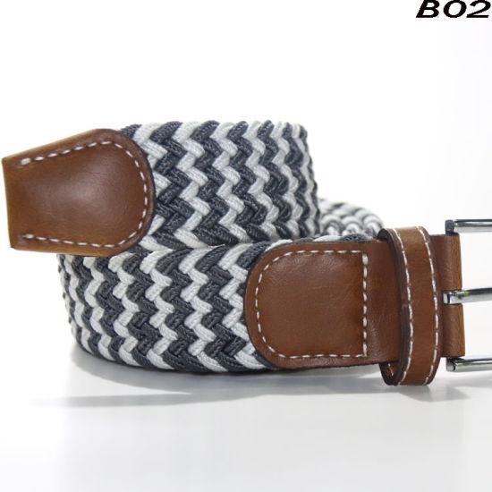 B02 2018 Top Design Mix Color Custom Woven Elastic Mens Braided Stretch Belt