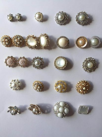 Fashion Garment Accessories Pearl Crystal Thread Metal Decoration Button for Garment