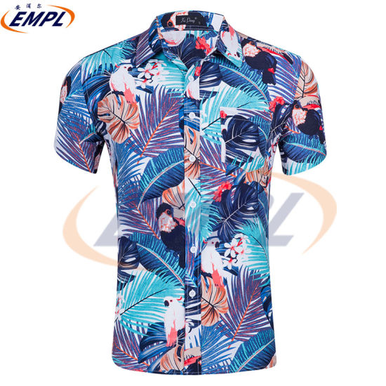 Button Down T-Shirt Tops Mens Fashion Casual Floral Print Short Sleeve Blouse